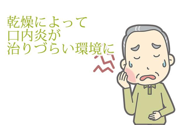 乾燥によって口内炎がなおりにくい